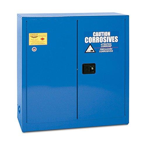 Acid&Corrosive Safety Cabinet, 30gallon, Blue, manual close, key lock, 1adjustable shelf