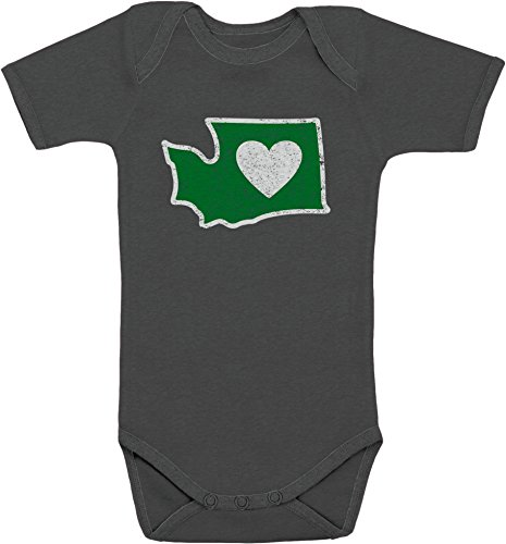 Heart in Washington Infant Romper/Creeper 12 Month Charcoal - Distressed Design - Super Soft for Boys & Girls -100% Cotton ()