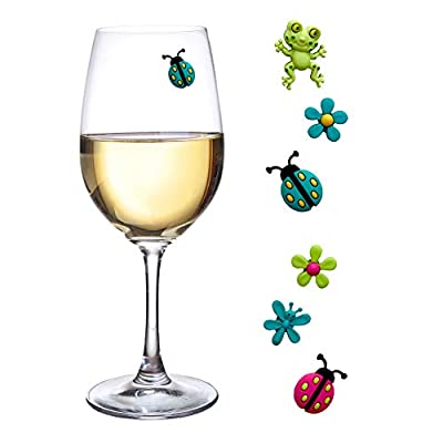 Wine Glass Charms Magnetic Drink Markers Set of 6 Fun Summer Cocktail Identifiers with Ladybug Frog and Flower Wine Charms