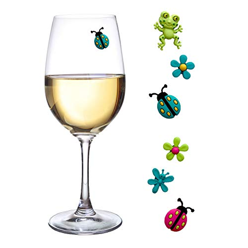 - Wine Glass Charms Magnetic Drink Markers Set of 6 Fun Summer Cocktail Identifiers with Ladybug Frog and Flower Wine Charms