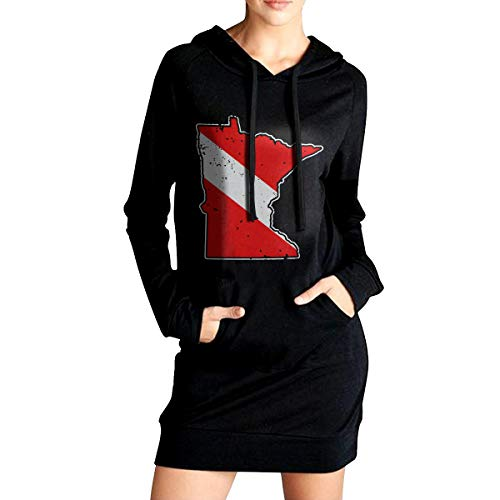 Vintage Minnesota Scuba Dive Flag Map Diving Diver Womens Fashion Adult Long Sleeve Hoodie ()
