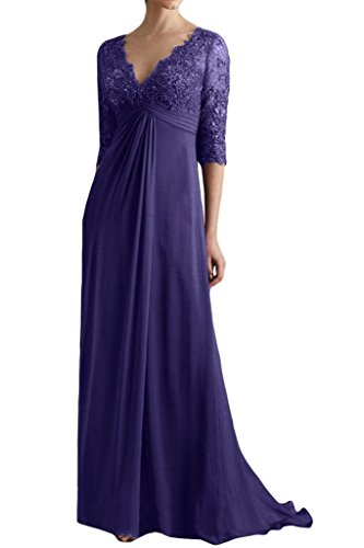 Sleeves Bride of The Chiffon Dresses Purple Mother Empire Lace Blevla with qzIRYR
