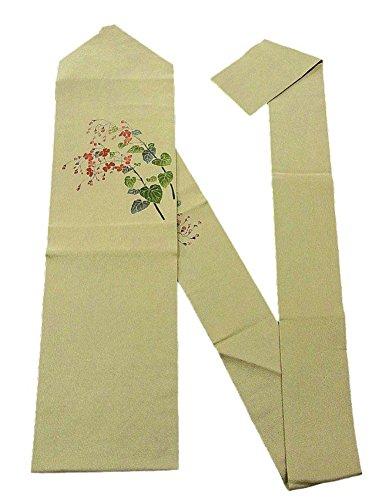 鼻良性羊飼いリサイクル 名古屋帯 縮緬 赤い花 植物文
