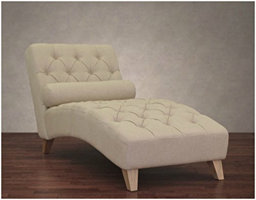 Cleo Natural Linen Indoor Chaise Lounge Chair Soft Foam Cushion with Elegant and Soft Diamond Design