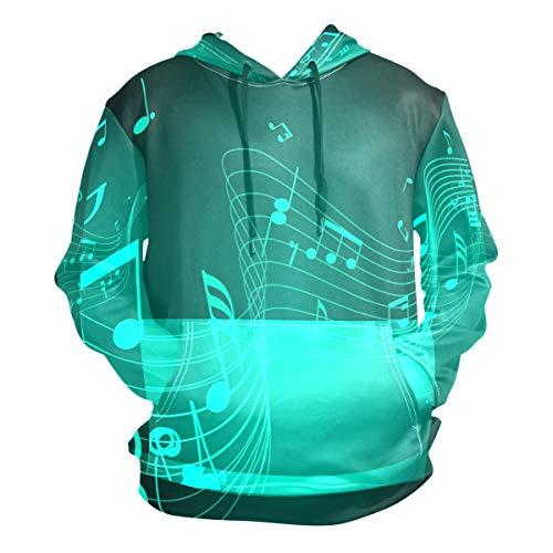 - Chu warm Music Symbols Green Hoodie 3D Pullover Hooded Long Sleeve Workout Sweatshirts