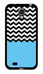 Blue Black and White Chevron TPU RUBBER SILICONE Phone Case Back Cover Samsung Galaxy S4 I9500