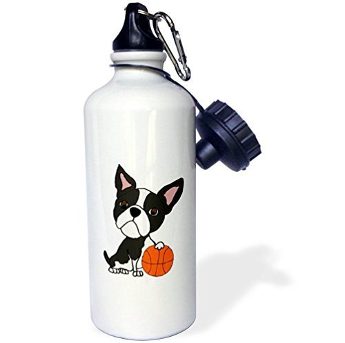 (Moson Sports Water Bottle Gift for Kids Girl Boy, All Smiles Art Pets Funny Cute Boston Terrier Dog Playing Basketball Cartoon Stainless Steel Water Bottle for School Office Travel 21oz)