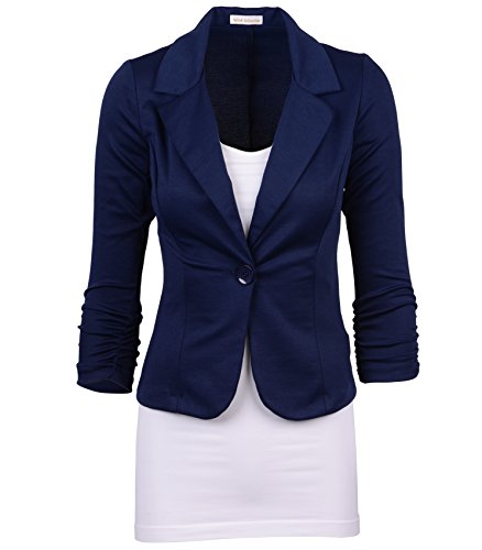 Auliné Collection Women's Casual Work Solid Color Knit Blazer Navy Blue (Navy Blue Blazer)