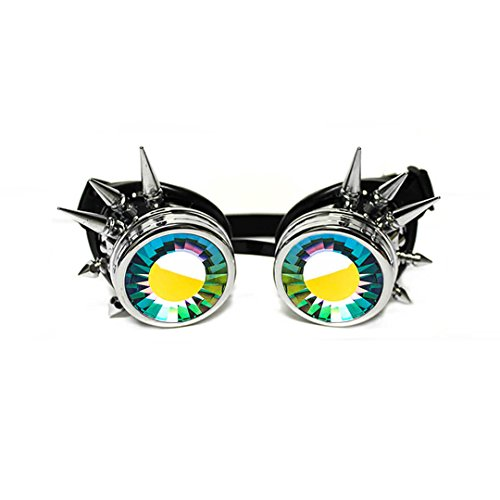 GloFX Chrome Padded Spiked Kaleidoscope Goggles - Wormhole Lens - Chrome Spike Frame - Adjustable Strap - EDM Rave Spikey Rainbow Cyber Welding Steampunk Cyborg Pointed Portal Real Glass - Glasses Cyber