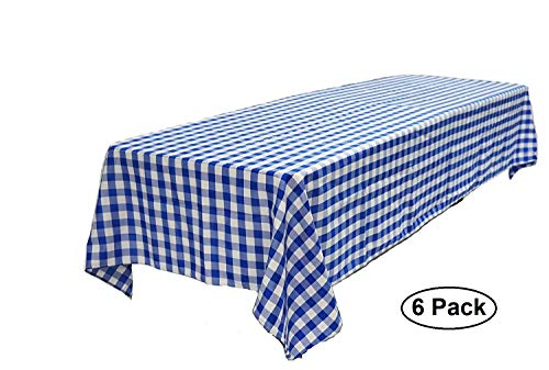 Pack of 6 Plastic Blue and White Checkered Table covers - 6 Pack - Picnic Table Covers by -