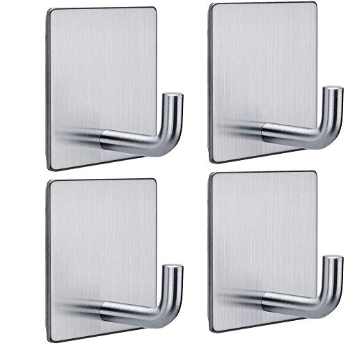 FOTYRIG Adhesive Hooks Wall Hooks Hangers Bathroom Office Stick on Hooks for Hanging Bathroom Home Kitchen Stainless Steel-4 Packs