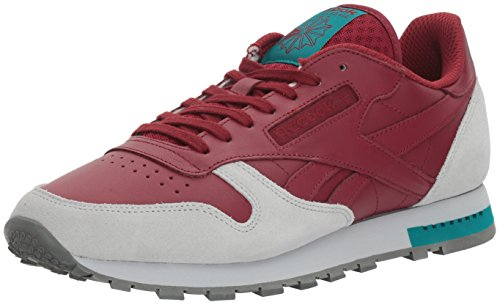 Reebok Men CL Leather Grey Fashion Sneaker Collegiate Burgundy/Cloud Grey/Alloy/Teal Green