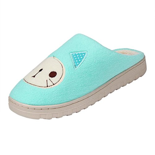 Clode® Unisex Slipper, Womens Mens Cotton Indoor Cat Pattern Home Floor Soft Flat Winter Fuzzy Slip On Anti-Slip Hard Sole Mules Slippers Shoes Mint Green