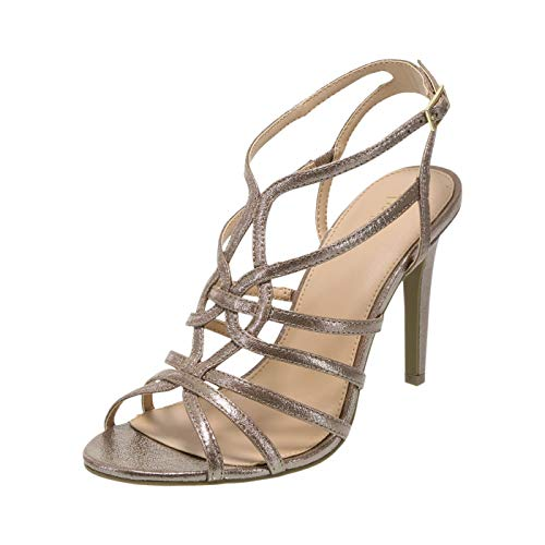 - Fioni Bronze Women's Lia Strappy Heel 10 Regular