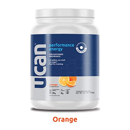 UCAN Performance Energy Powder (Orange, 24.7oz, 20 Servings) – No Sugar, Gluten Free, Vegan, Pre- and Post-Workout Drink, Keto Friendly