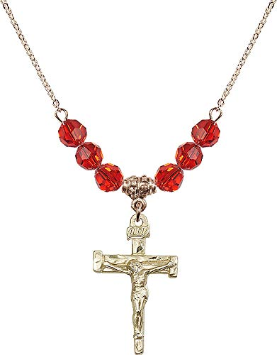 (18-Inch Hamilton Gold Plated Necklace with 6mm Ruby Birthstone Beads and Nail Crucifix Charm. Red Ruby July Birthstone)