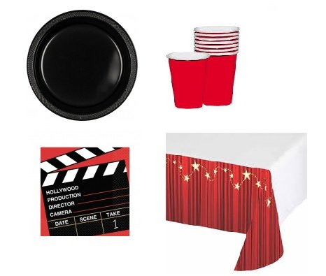 Hollywood Movie Theme Party Supply Pack for 20 Guests: Large Plastic Plates, Napkins, Cups & Table Cover