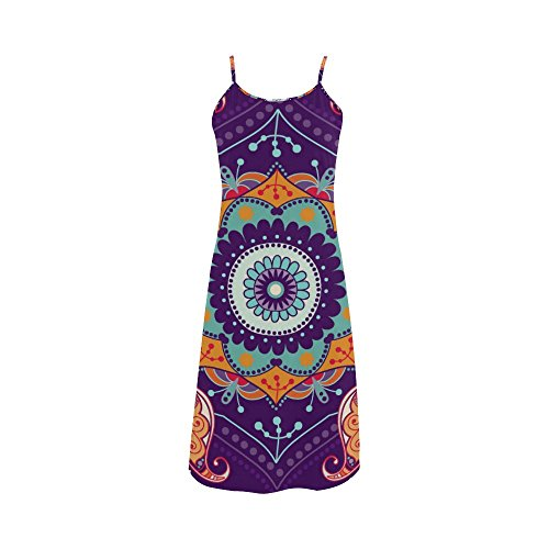 Womens Bohemian Floral Hippie Polyester Casual Slip Dress