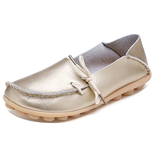Casual Shoes Loafer LONSOEN Solid Flats Driving and Leather Moccasin Gold Boat On Slip Women wtqrqn0I
