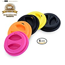 KSENDALO 5/Pack Reusable Silicone Mug Lids, Drinking Coffee/Tea Silicone Cup Lids, Outer Dia. 9.5cm, Mix-color