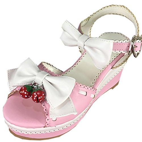 Partiss Damen Sweet Lolita High-top Schuhen Hochzeit Pumps Cosplay Lace Bowknots Dienstmaedchen Platform Pumps Sommer Sandalen Lolita Shoes mit Schellen Pink