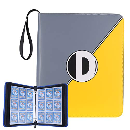 D DACCKIT Carrying Case Binder Compatible with Pokemon Trading Cards, Cards Collectors Album with 50 Premium 9-Pocket Pages, Holds Up to 900 Cards(Golden and Gray)