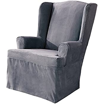 Sure Fit Soft Suede   Wing Chair Slipcover   Smoke Blue (SF34519)
