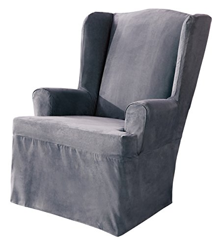 SureFit Soft Suede - Wing Chair Slipcover - Smoke Blue