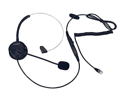 - Coodio Corded Call Center Telephone Headset [Mute Switch] [Volume Control] RJ9 Monaural Headphone With Mic Microphone [Noise Cancelling] For Desk Phone Office Landline Phones - Black