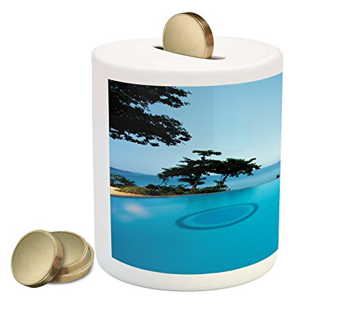 Landscape Coin Box Bank By Ambesonne  Pool View At Sunset Beach In Seacoast Ocean Vibrant Colors Adventure Photo  Printed Ceramic Coin Bank Money Box For Cash Saving  Turquoise Green
