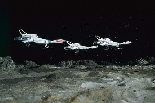 UFO three Interceptors above Moon base Gerry Anderson TV show 24x36 Poster