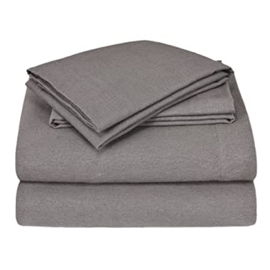 Elite Home Winter Nights Flannel 100-Percent Cotton 4-Piece Sheet Set, King, Charcoal
