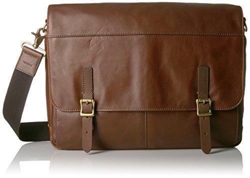 Fossil Defender Leather Messenger Bag - Brown - One Size