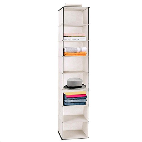 MaidMAX 8 Tiers Cloth Hanging Shelf for Closet Organizer with a Widen Strap, Foldable, Beige, 52 Inches - Hanging Organizer 8 Shelf