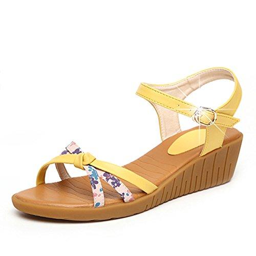 Mujeres sandalias/Zapatos de suela gruesos de pastel/Zapatos de cuñas/Zapatos de plataforma plana amarillo
