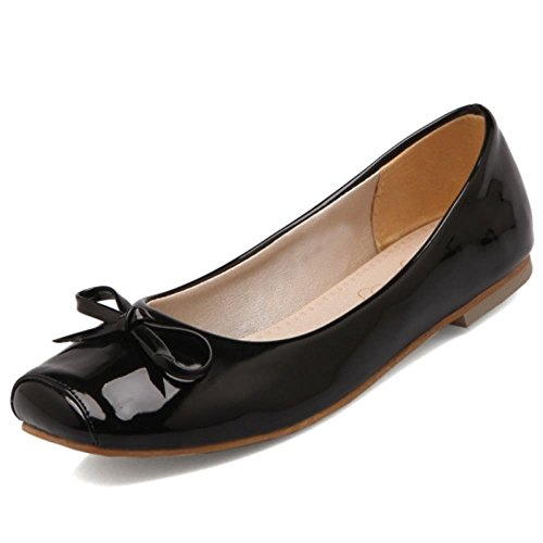 COOLCEPT on Black Pumps Sizes Gilrs Slip Extra Bow Flat Dolly Ballet With Women rOx4E7wqnr