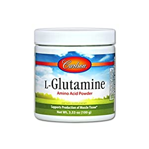 Carlson L Glutamine Powder 3 g, Amino Acid Powder, 100 g Jar