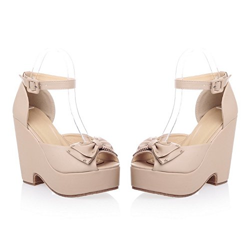 B US Pumps Platform Wedge 7 Solid PU Peep WeenFashion with High Material Bowknot Womens Toe Apricot Heel M Soft Open HnRqT