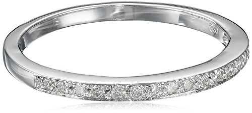 14k White Gold Round Diamond Ring (0.13 cttw, I-J Color, I1-I2 Clarity) by Amazon Collection