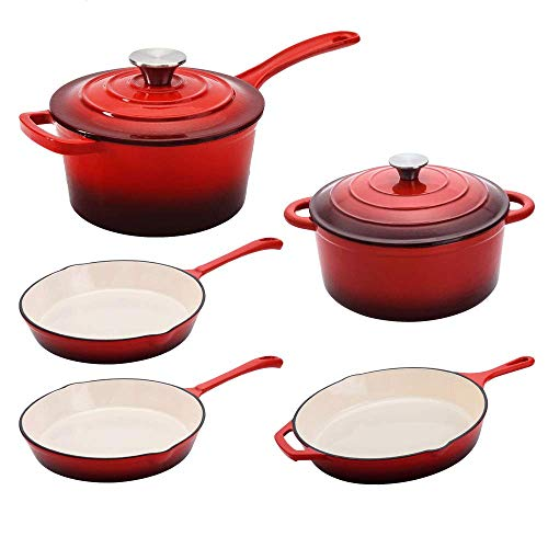 3 Hamilton Beach Enameled Cast Iron Skillets & 1 Dutch Oven