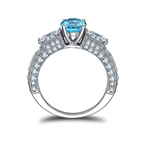 Adisaer-Women Engagement Ring 925 Sterling Silver Plated Solitaire LW 6.5X6.5Mm Round Blue Topaz Ring Size 8.5 ()