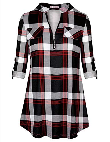 Tanst Red Plaid Shirt Women Juniors Long Sleeve Tops Zipper Front Henley V Neck Cuff Button Casual Tunic Pleated Flare Hem Form-Fitting Breathable Elegant Feminine Blouses Red XL ()