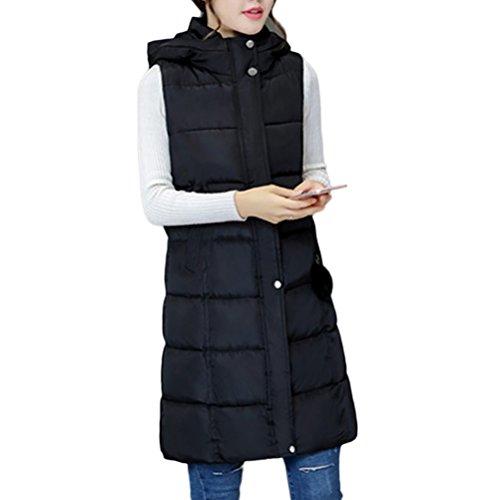 Zhhlaixing Abrigo de moda Long Hooded Vest European and American Style Cotton Vests Slim jacket for Women Black