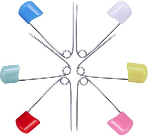 LASSUM 30 PCS Assorted Color Plastic Head Baby Safety Pins 2 Inch Safety Locking Baby Cloth Diaper Nappy Pins