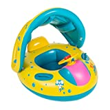 Lin XH Inflatable Baby Pool Float Swimming Ring with Sun Canopy for the Age 6-36 Months