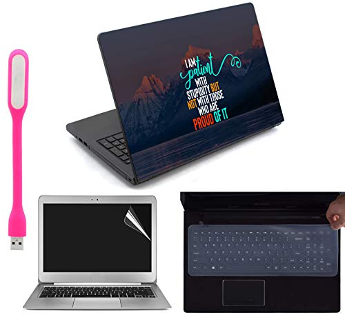 "Ramiya 4 in 1 Accessories Kit for 15.6-inch Laptops Decal | Screen Guard | Silicone Keyboard Protector | and USB LED Light All Models (Upto) (LxH) : 15.6""x 10.1"""