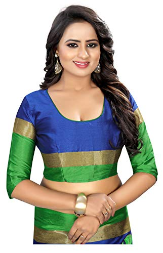 c320b40cdf24c6 Shreeji Designer Cotton Silk Ari Embroidery Work Fancy Saree With Blouse  Piece SD-2255 (BLUE   PARROTGREEN)  Amazon.in  Clothing   Accessories