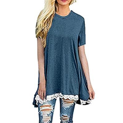 Women's Blouse Tops Short Neck Sleeve Lace Scoop A-Line Tunic