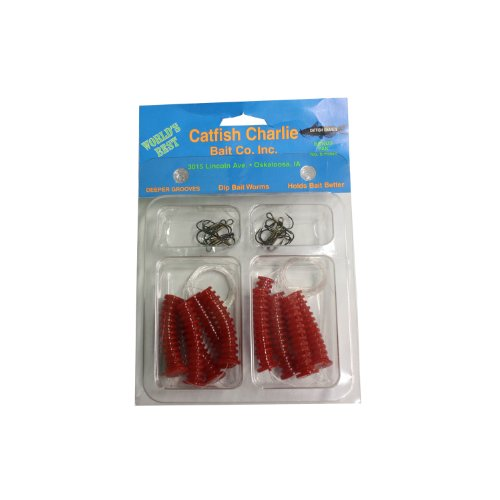 Catfish Charlies DBH-12-01 Dip Bait Worms-Pack of 12, Red