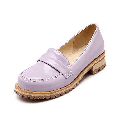 Odomolor Damen Niedriger Absatz Lackleder Rein Ziehen auf Rund Zehe Pumps Schuhe Lila